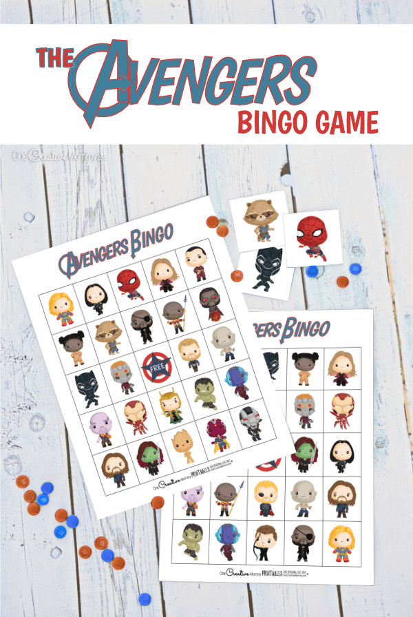 My boys are going to love Avengers Bingo! It's perfect for their birthday party. {OneCreativeMommy.com} Free printable game.#avengers #birthdaypartyideas #bingo #freeprintable #superheroes
