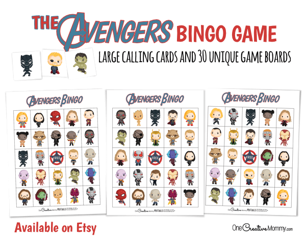 Check out the full set of 30 Avengers Bingo boards available on Etsy. This is going to be perfect for my superhero birthday party.!{OneCreativeMommy.com} #avengers #birthdaypartyideas #bingo #superheroes #avengersgame