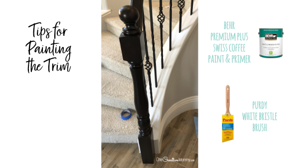ow to paint the trim on your staircase. {OneCreativeMommy.com} #javagelstain #generalfinishesgelstiain #staircasemakeover #banistermakeover #tutorial #video