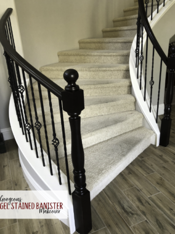 This java gel stain banister makeover is gorgeous! I have to try it. The video tutorial is so easy to follow. {OneCreativeMommy.com} #javagelstain #generalfinishesgelstiain #staircasemakeover #banistermakeover #tutorial #video