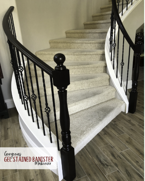 Gorgeous Java Gel Stain Staircase Makeover
