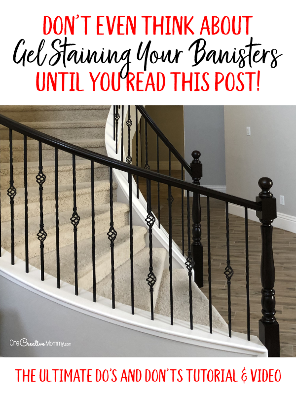 I'm so glad I read this and watched the videos before I started staining! Heidi shows you all the do's and don'ts for gel staining your banister and painting to create this beautiful two-toned look. {OneCreativeMommy.com} #javagelstain #generalfinishesgelstiain #staircasemakeover