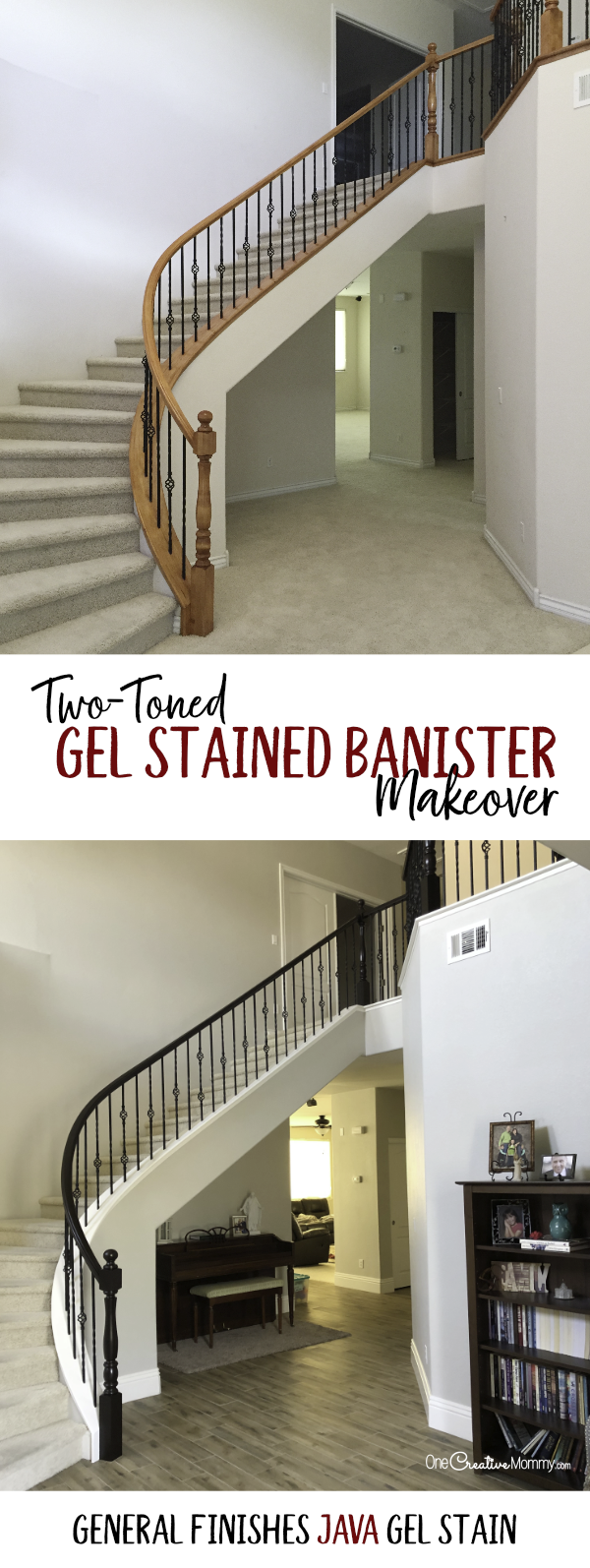 Can you believe the before and after in this staircase makeover? Java gel stain is so pretty! {OneCreativeMommy.com} #javagelstain #generalfinishesgelstiain #staircasemakeover #banistermakeover #tutorial #video