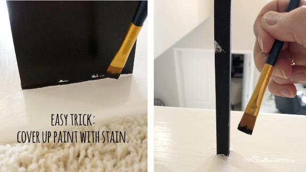 How to fix your mistakes using Java Gel Stain {OneCreativeMommy.com} #javagelstain #generalfinishesgelstiain #staircasemakeover #banistermakeover #tutorial #video