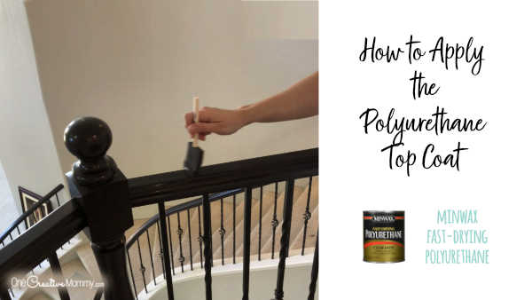 I am so doing this! What a transformation!{OneCreativeMommy.com} #javagelstain #generalfinishesgelstiain #staircasemakeover #banistermakeover #tutorial #video
