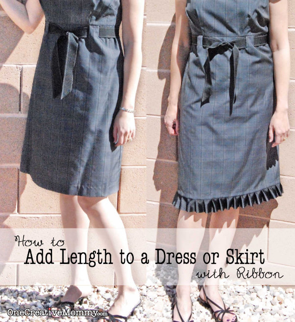 How to Add Length to a Dress or Skirt with Ribbon Tutorial {Full Instructions and Lots of Pictures} OneCreativeMommy.com #sewinghack #frugal