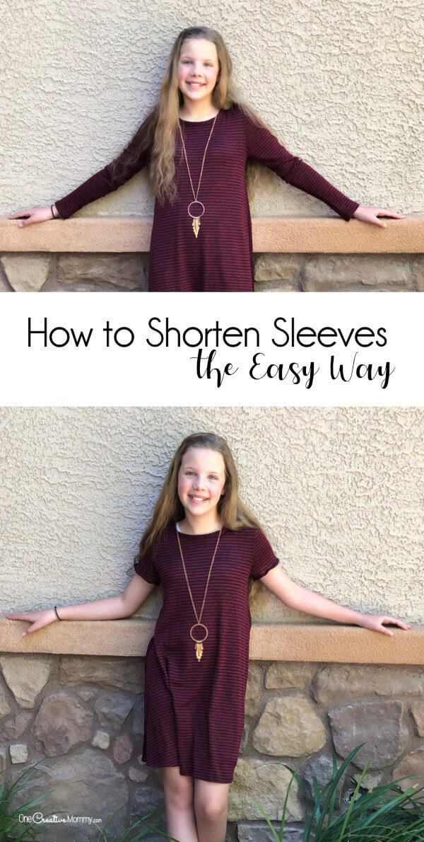 I love this easy dress refashion for Summer! Learn how to shorten sleeves the easy way and stretch your clothing budget for Summer. {OneCreativeMommy.com} #easysewing #dressrefashion #upcycle #frugal #tutorial