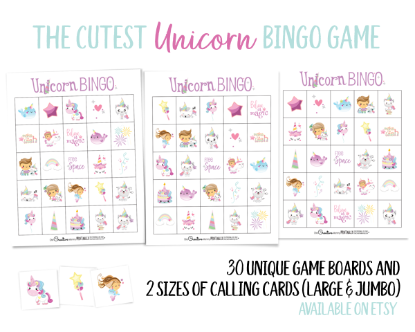 I can't wait to play UI can't wait to play Unicorn Bingo with my kids! It's perfect for a birthday party, too. {OneCreativeMommy.com} 33 game boards available on Etsy #bingo #unicorns #kidsbirthdaypartyideas