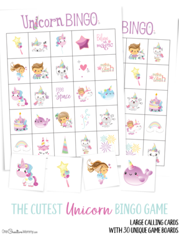 I can't wait to play Unicorn Bingo with my kids! It's perfect for a birthday party, too. {OneCreativeMommy.com} Free Printables #bingo #unicorns #kidsbirthdaypartyideas