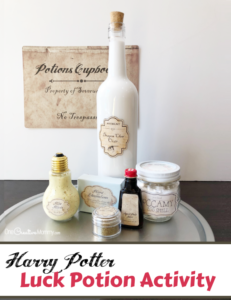 "This is perfect for a Harry Potter Potions class! Regular slime becomes ""Luck Goo,"" complete with a recipe scroll, ingredient labels, and more. This looks like so much fun! {OneCreativeMommy.com} #harrypotterpartyideas #freeprintables #harrypotter"
