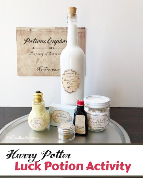 """This is perfect for a Harry Potter Potions class! Regular slime becomes """"Luck Goo,"""" complete with a recipe scroll, ingredient labels, and more. This looks like so much fun! {OneCreativeMommy.com} #harrypotterpartyideas #freeprintables #harrypotter"""