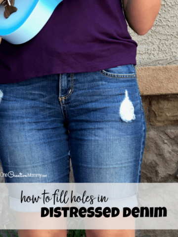 Are your distressed jeans falling apart? Keep wearing them with this easy patch idea. {OneCreativeMommy.com} #distresseddenim #sewingtips #diy