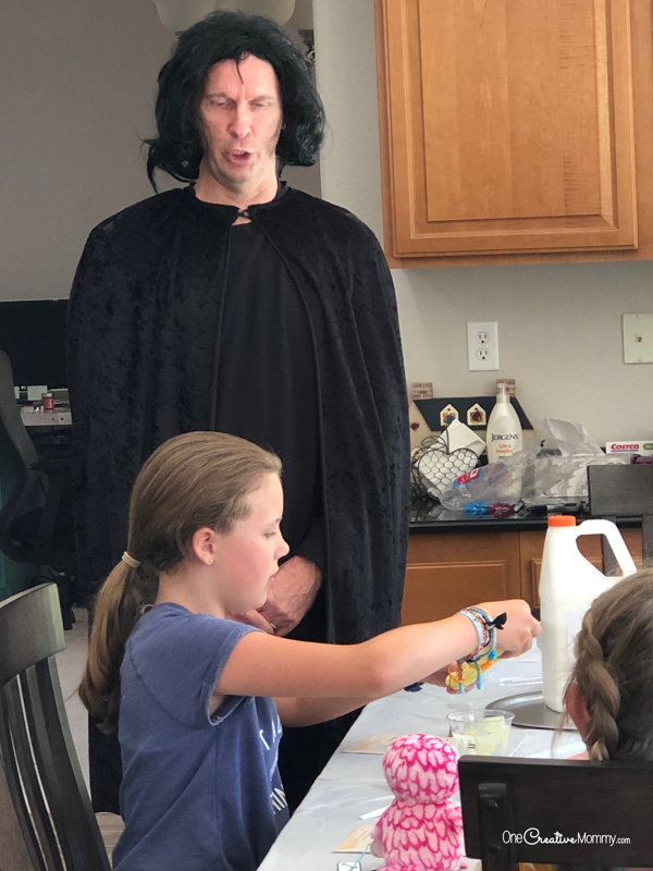 Dad was such a good sport to dress up as Severus Snape for our Harry Potter party! He taught the potions class. {OneCreativeMommy.com} #harrypotterparty #severussnape