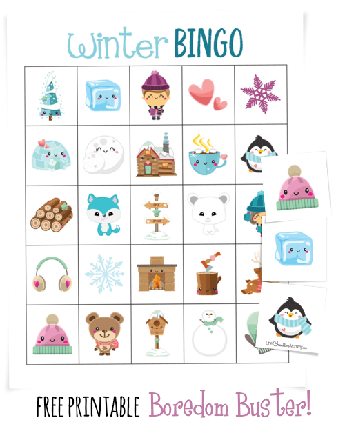 This adorable winter bingo game is a perfect boredom buster for Winter Break! {OneCreativeMommy.com} #printable #bingo #winter #fungamesforkids