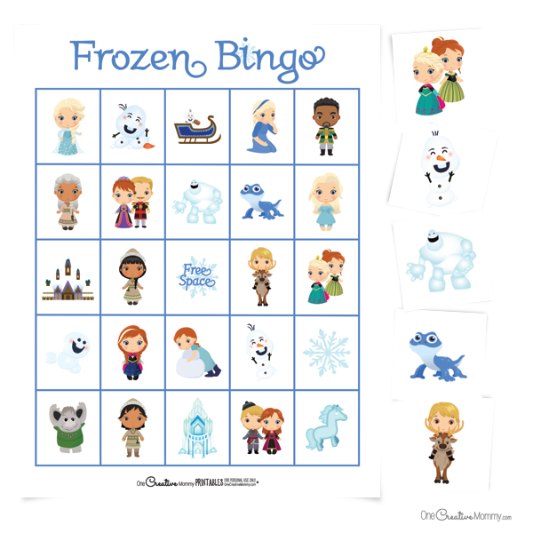 This is the cutest Frozen bingo game! {OneCreativeMommy.com} #freeprintable #frozen2 #bingo #frozenparty