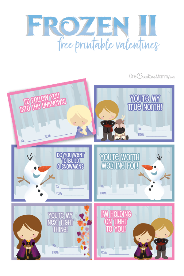 "These Frozen valentines are perfect for Frozen 2 lovers! Adorable images and ""mushy"" lines from the movies go perfectly together for Valentine's Day. {OneCreativeMommy.com} Free printables #frozen2 #valentinesday #classroomvalentines"
