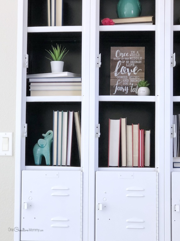Stunning Metal Locker Makeover with Spray Paint {OneCreativeMommy.com} Transform boring lockers into gorgeous shelving #lockermakeover #spraypaint #howtoremoverivets #vintagelockers