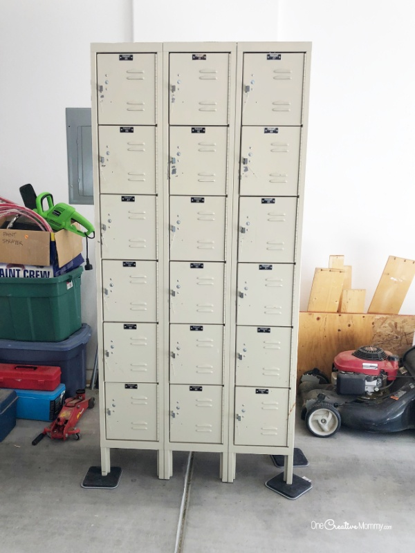 Before picture of metal lockers -- ready for locker makeover