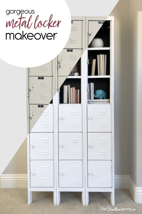 Stunning Metal Locker Makeover with Spray Paint {OneCreativeMommy.com} Transform boring lockers into gorgeous shelving #lockermakeover #spraypaint #howtoremoverivets #vintagelocker