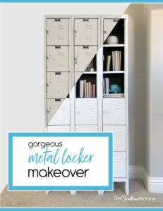 Stunning Metal Locker Makeover with Spray Paint {OneCreativeMommy.com} Transform boring lockers into gorgeous shelving #lockermakeover #spraypaint #howtoremoverivets