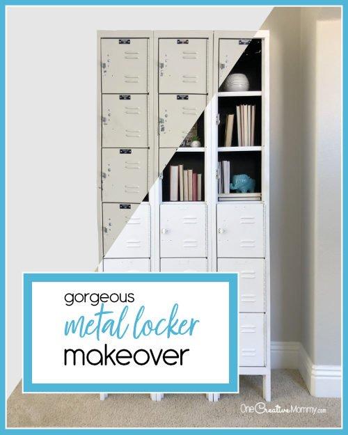 Stunning Metal Locker Makeover with Spray Paint {OneCreativeMommy.com} Transform boring lockers into gorgeous shelving #lockermakeover #spraypaint #howtoremoverivets