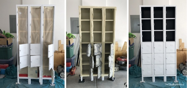 Prepping and painting the lockers {OneCreativeMommy.com} #vintagelockermakeover #lockermakeover