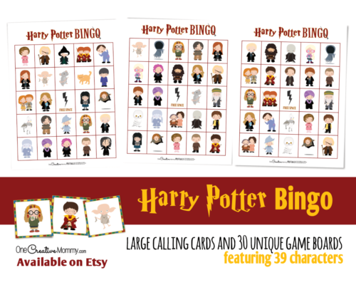 Harry Potter Bingo listing image for Etsy