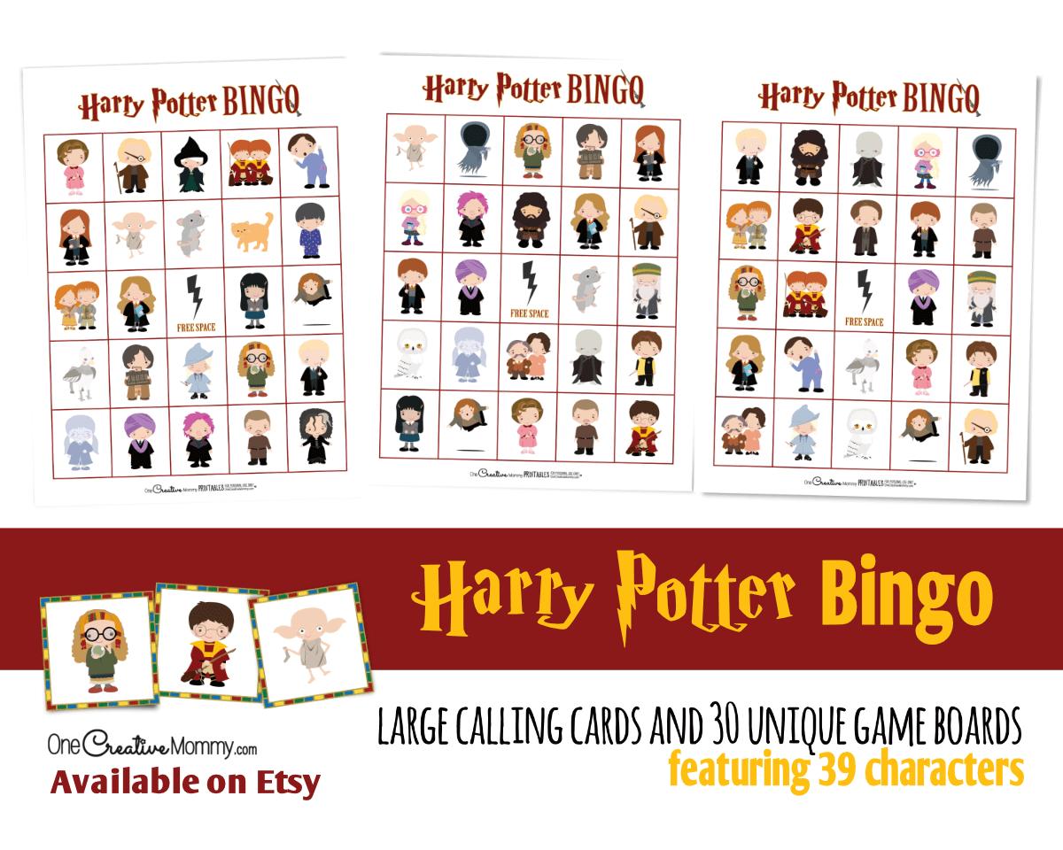 Harry Potter Bingo listing image for Etsy