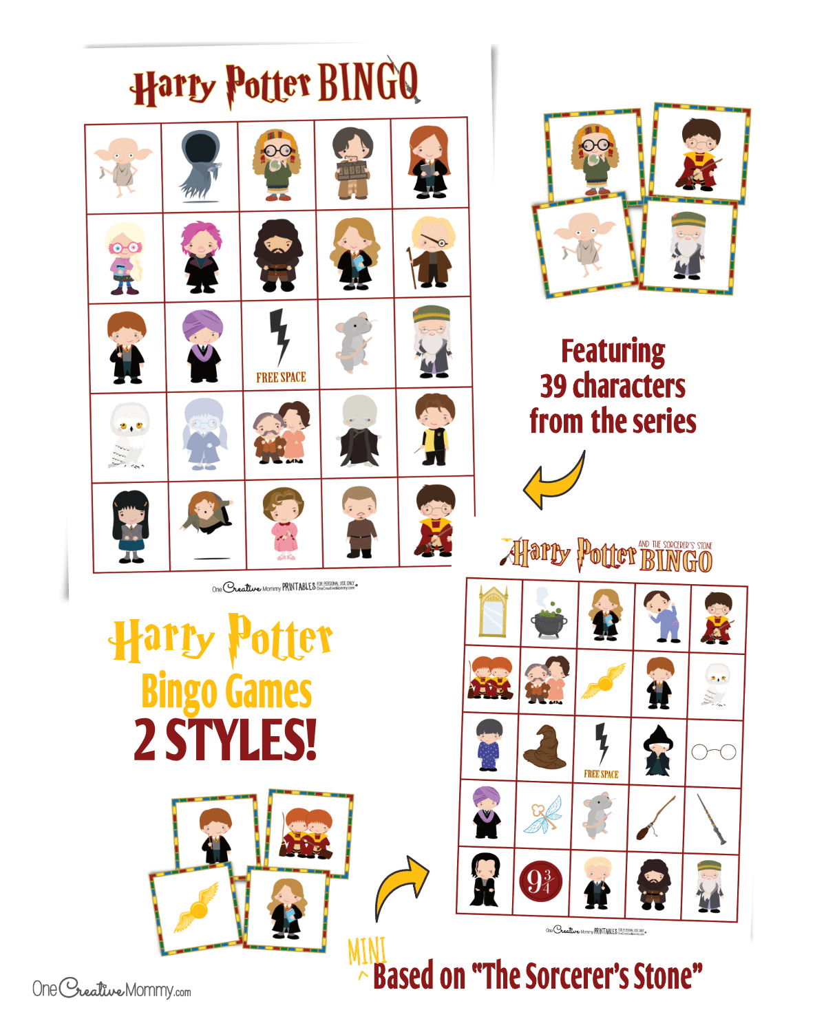 These Harry Potter bingo games are perfect for any party or game night. {OneCreativeMommy.com} #free #Harrypotterparty #harrypotterbirthdayparty