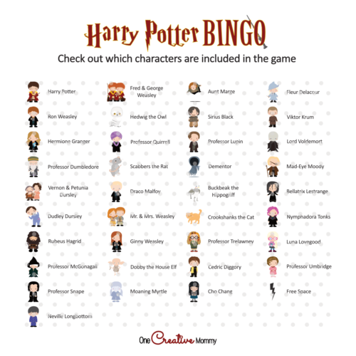Image of all the characters included in the bingo game