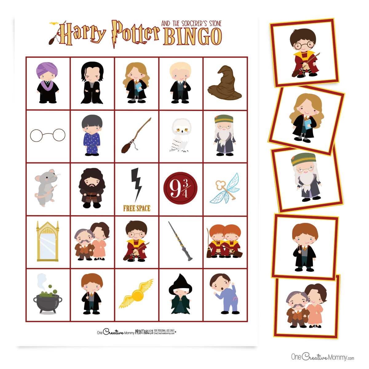 Free Harry Potter Bingo game! Because the images are based on Book 1, even the newest Harry Potter fan can play. {OneCreativeMommy.com} Free family set with class set available on Etsy #harrypotterbingo #harrypotterbirthdayparty #harrypotterparty #bingogame
