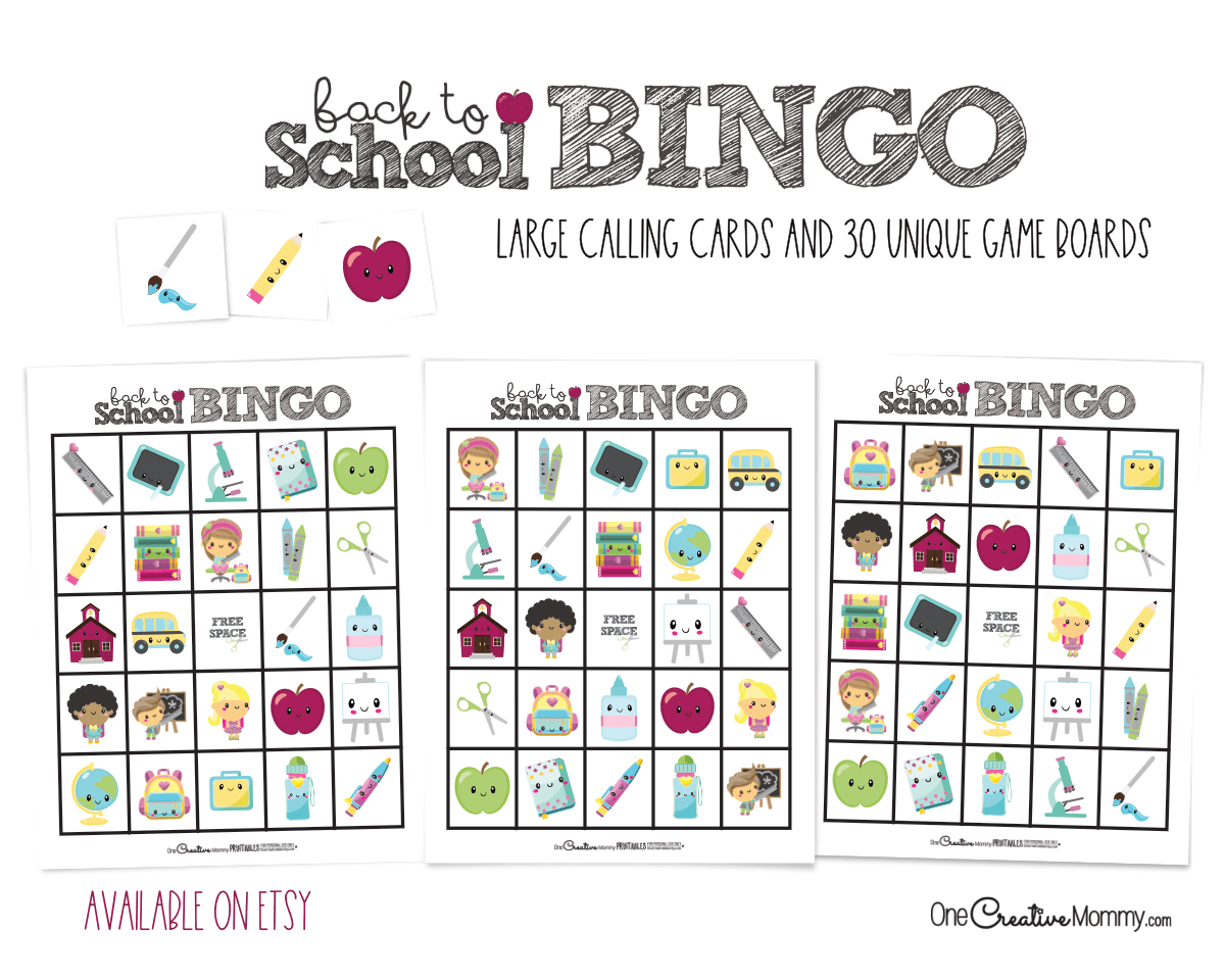 Get a classroom-sized set of Back to School Bingo in my Etsy store