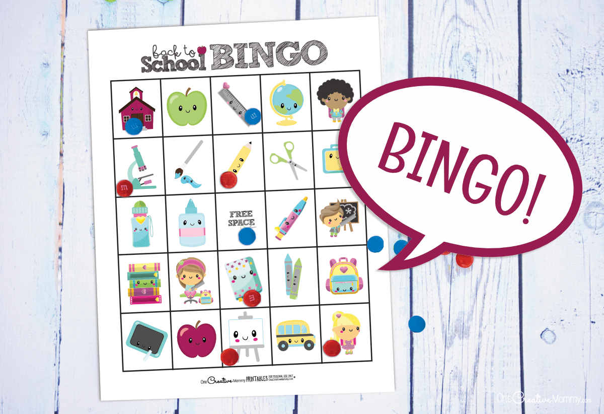 This back to school bingo game will be so fun to play on the first day of school! {OneCreativeMommy.com} #bingo #backtoschool #freeprintable